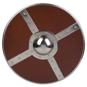 Schild Kampfschild rund Holz mit Leder-Haltebändern - Schaukampftauglich