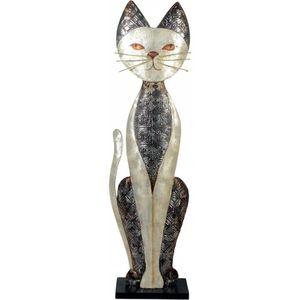Dekofigur silberne Katze aus Muschelschalen