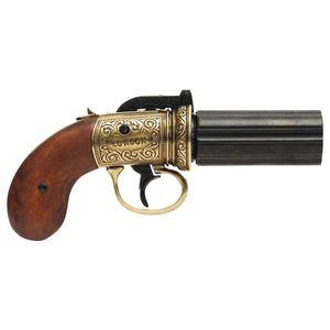 Messingfarbene englische 6-schüssige Deko Pepperbox Perkussions Pistole 1840