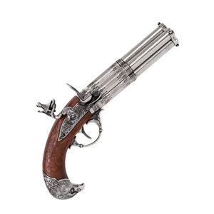 Graue französische vierläufige Deko Adlerkopf Steinschloßpistole 18. Jhdt. – Bild 1