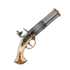 Elfenbeinfarbige französische vierläufige Deko Steinschloßpistole 18. Jhdt. – Bild 1