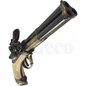 Elfenbeinfarbige französische dreiläufige Deko Adlerkopf Steinschloßpistole 18. Jhdt. – Bild 3