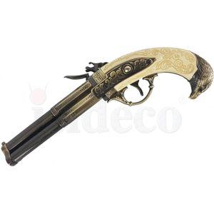 Elfenbeinfarbige französische dreiläufige Deko Adlerkopf Steinschloßpistole 18. Jhdt. – Bild 4