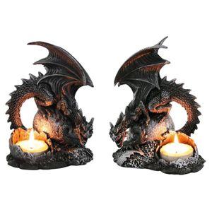 Dragon Lair - 2er Set Teelichthalter Drachen sitzen auf Dracheneier – Bild 1