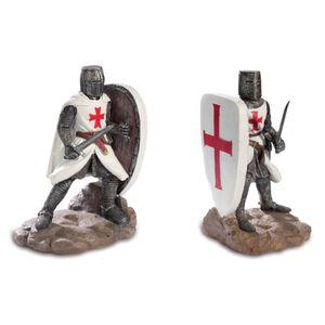 2er Set Buchstützen zwei Templer Kreuzritter mit Schild 16cm – Bild 1