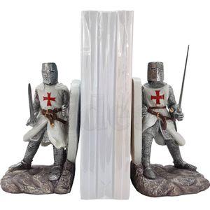 2er Set Buchstützen zwei Templer Kreuzritter mit Schild 16cm – Bild 2