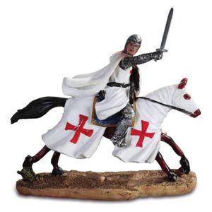 Templer Kreuzritter reitend auf Pferd mit erhobenen Schwert 17cm – Bild 1