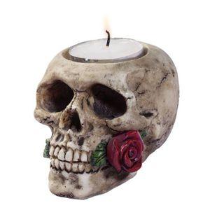 Teelicht Totenkopf mit Rose im Mund 6cm