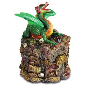 Grüner Drachen auf Felsen - Schmuckdose zum öffnen 13cm – Bild 1