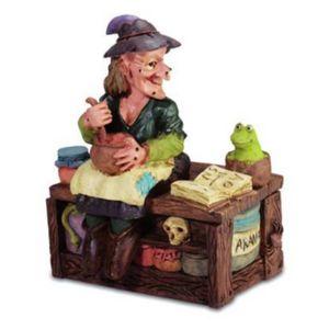 Hexe sitzt auf Holzkiste - Schmuckdose zum öffnen 10,5cm – Bild 1