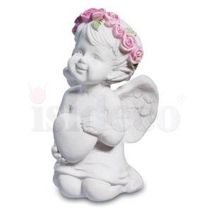 4er Set kleine kniende Engelchen mit Blütenkranz 6cm – Bild 4