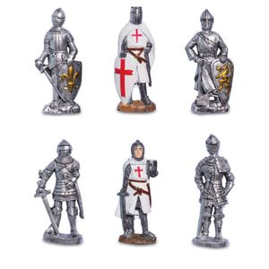 6er Set Magnete Templer Kreuzritter und silberne Ritter 8cm – Bild 1
