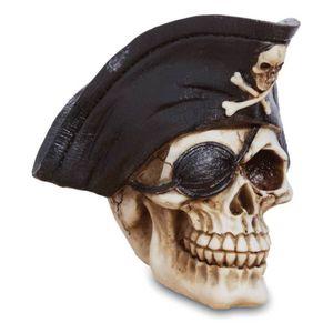 Totenkopf Pirat Kapitän mit Augenklappe 14cm
