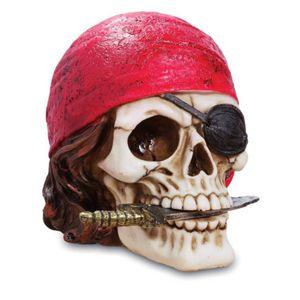 Totenkopf Pirat mit rotem Bandera 13cm
