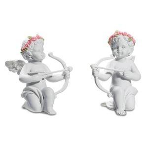 2er Set kleine Engelchen mit Blütenkranz als Amor mit Pfeil und Bogen 8cm – Bild 1