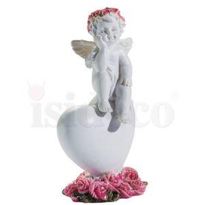 3er Set kleine Engelchen mit Blütenkranz sitzen auf Herz mit Blüten 8,5cm – Bild 3