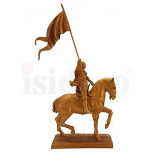 Johanna von Orleans gold auf Pferd mit Fahne Emmanuel Fremiet 26cm – Bild 3
