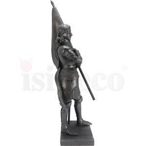 Johanna von Orleans silber stehend in Rüstung mit Flagge nach Felix Charpentier 21,5cm – Bild 3