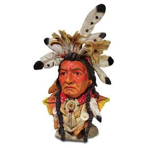 Büste Kalispel Indianer mit Federschmuck 27cm – Bild 1
