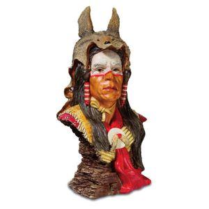 Büste Assiniboine Indianer  mit Wolfskappe 22cm – Bild 1