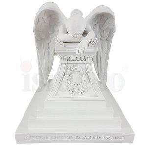 Engel trauert am Grabstein 16cm weiß nach Angel Of Grief von Antonio Bernieri – Bild 2