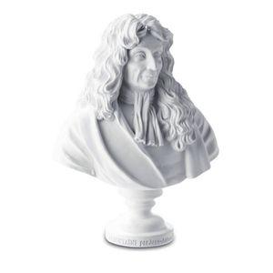 Büste Jean de La Fontaine 12cm weiß nach Jean Antoine Houdon
