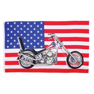 Fahne Flagge der vereinigten Staaten von Amerika mit Motorrad 90x150cm