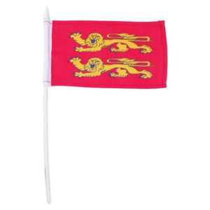 Fahne Flagge der Normandie mit Stab goldene Löwen auf Rot 10x15cm
