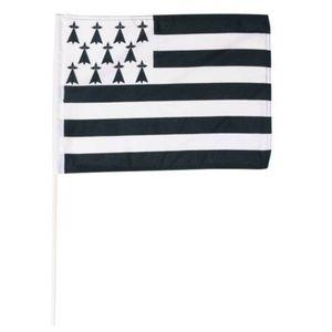 Fahne Flagge der Bretagne 30x40cm mit Stab