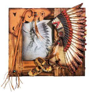 Western Bilderrahmen Indianer Häuptlings Federhaube 29cm – Bild 1