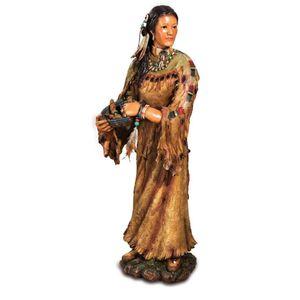 Figur Indianerin mit Korb in den Händen 30cm