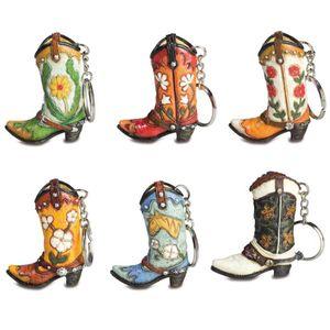 6er Set Schlüsselanhänger Blumen Western Stiefel