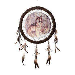 Western Indianer Traumfänger 50cm Wölfe im Schnee Bild