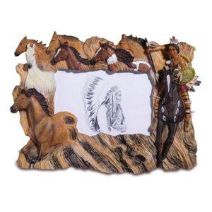 Western Bilderrahmen Indianer jagt Ponys 33cm