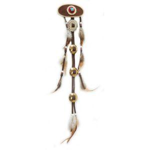 Western Indianer Kopfschmuck mit Metallplättchen und Lederriehmen 42cm