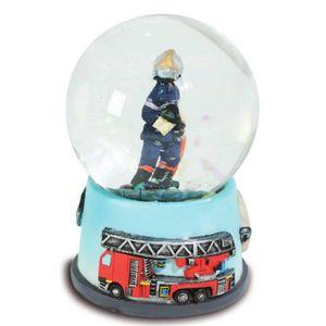 Schneekugel Feuerwehr Mann und Feuerwehrautos 6,5cm