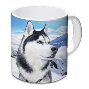 Tasse mit im Schnee sitzendem Husky 9,5cm – Bild 1