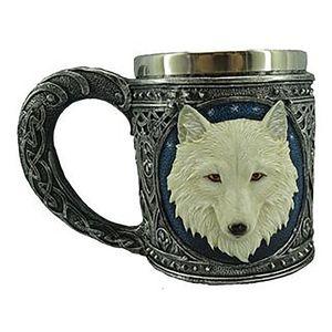 Keltischer Krug mit weißem Wolf und roten Steinen – Bild 1
