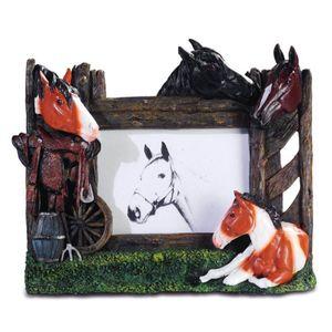 Bilderrahmen Pferde mit Fohlen am Zaun 27,5cm