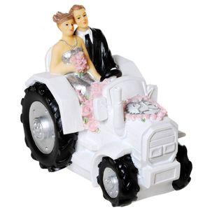 Silberhochzeit 25 Spardose Brautpaar auf weißen Traktor 13cm