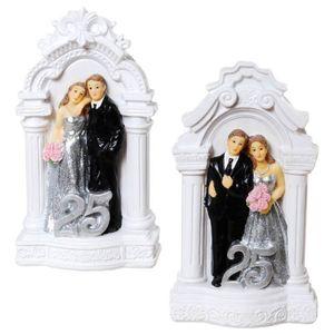 Silberhochzeit 2er Set 25 Spardose Brautpaar auf Podest 14cm