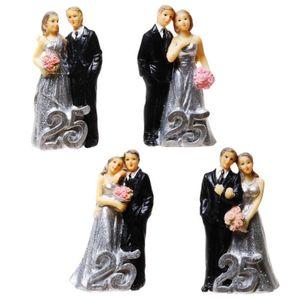 Silberhochzeit 4er Set Brautpaare mit Jahreszahl 25 - 9cm