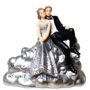 Silberhochzeit Spardose 16,5cm Brautpaar schwebt auf Wolke 7