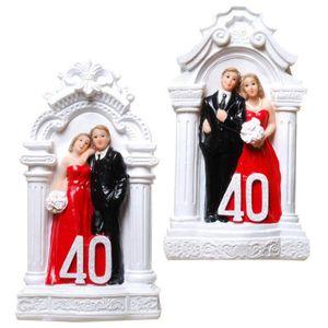 Rubinhochzeit 2er Set 40 Spardose Brautpaar auf Podest 14cm