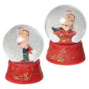 Weihnachten - 2er Set Schneekugeln liebendes Weihnachtspaar 10cm