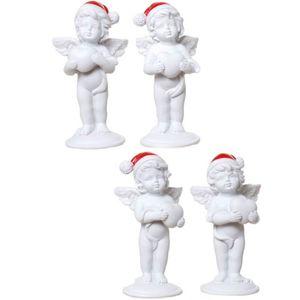 Weihnachten - 4er Set stehende Weihnachts Engelchen mit Herz 9cm