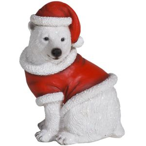 Weihnachten - Eisbär sitzt im Weihnachts Kostüm 15cm – Bild 1