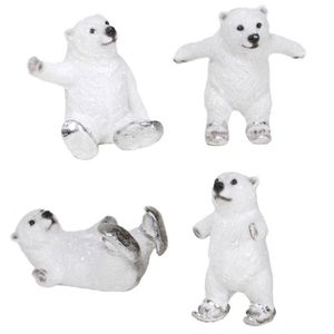 Weihnachten - 4er Set Eisbären mit silbernen Schlittschuhen 14,5cm