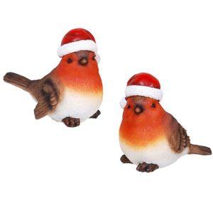 Weihnachten - 2er Set 10cm Vögel mit Weihnachts Mütze 10cm