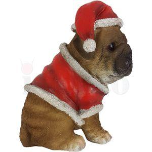 Weihnachten - Mops sitzt mit Weihnachts Kostüm 17cm – Bild 3